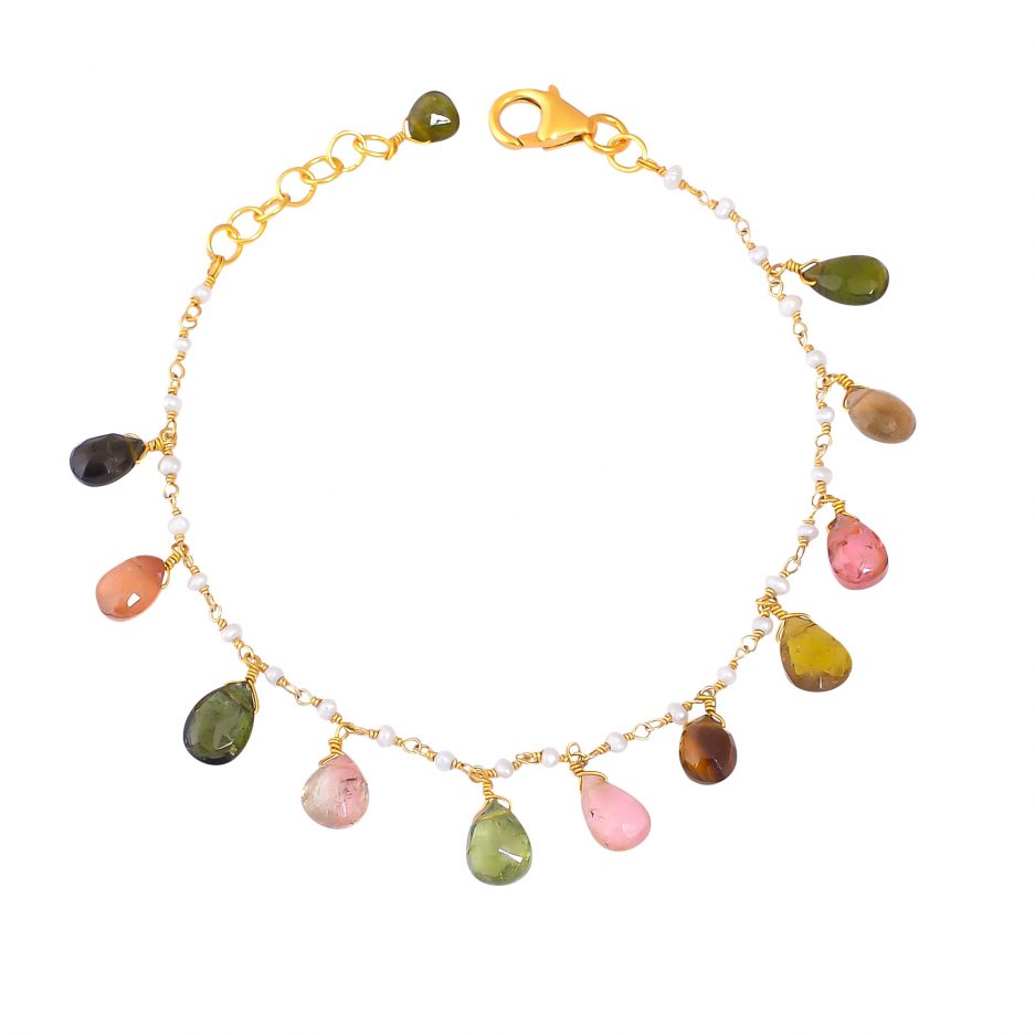 multi tourmaline pearl bracelet