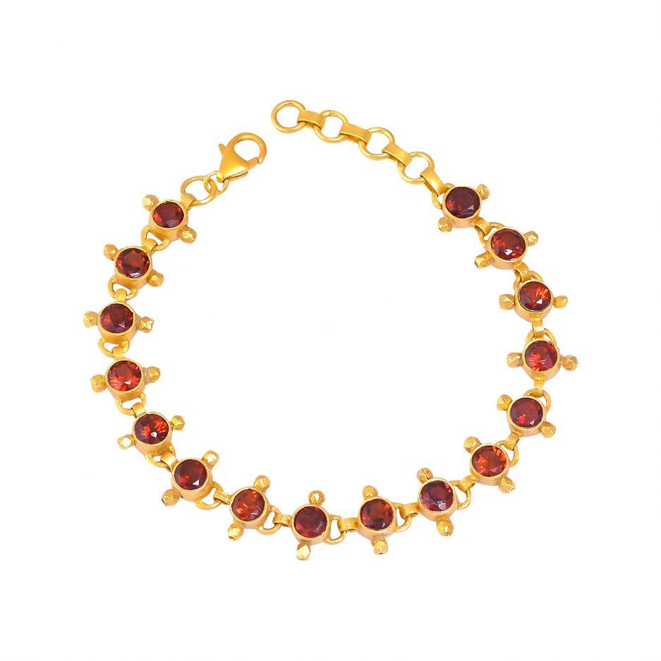 silver gold plated garnet bracelet