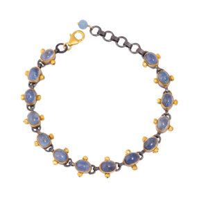 silver gold black plated aquamarine bracelet