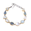 silver gold black plated aquamarine bracelet