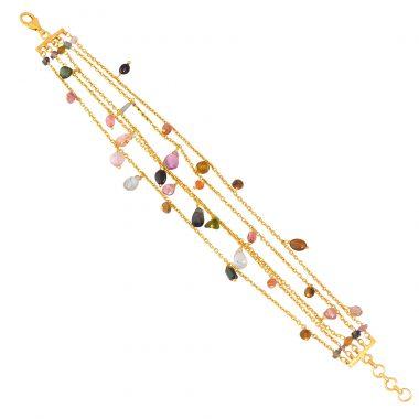 silver gold plated multi tourmaline chain bracelet