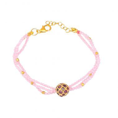 silver gold plated ruby bead rose quartz bracelet