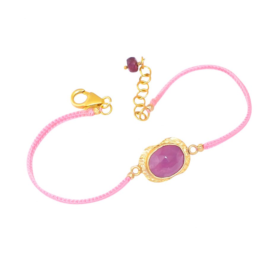 silver gold plated sapphire thread bracelet